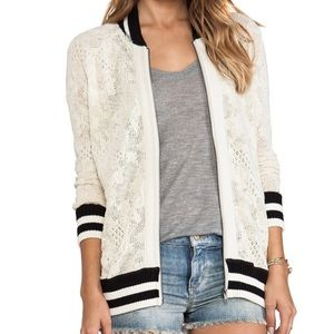 Urban Outfitters lace varsity style bomber jacket
